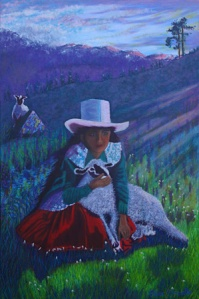 Peruvian Girl with Sheep (oils) by Elaine O'Donnell