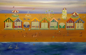 Seaside (acrylic on canvas) by Martin Page