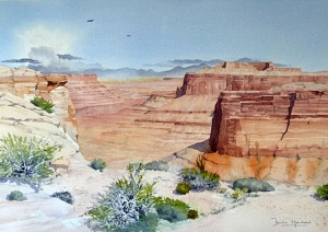 Canyonlands (watercolour) by Iain Harkess