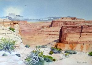 Canyonlands (watercolour) by Iain Harkess