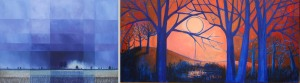 Bright Horizon (left) by Glynne James and Lady of the Blue Trees by Rosi Campbell