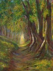 Woodland Walk (Acrylics) by Muriel Elliott