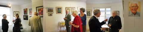Artists and guests at the private view.
