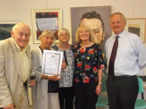 Members of the gallery team with Ann Mackenzie, winner of Directors' Award. L-R Eddy Double, Ann Mackenzie, Mary Newman, Pat Espin, Chris Hodgson.