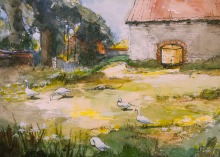 The Old Barnyard at Oasby by Ann Mackenzie.