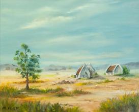 African Farm (oil) by Muriel Elliott