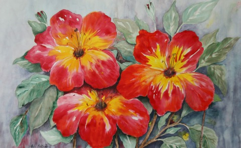 Azalea (watercolour) by Muriel Elliott.