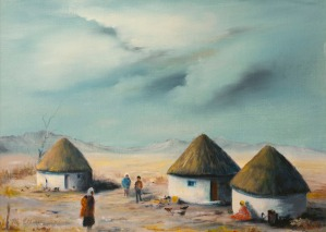 Rondavels in Africa (oil) by Muriel Elliott.