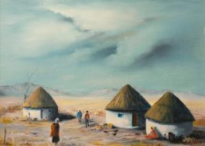 Rondavels in Africa (oil) by Muriel Elliott.